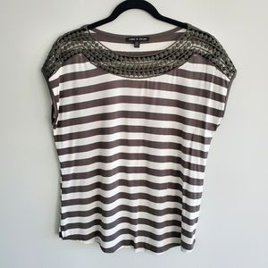 Cable & Gauge Green & White Stripe Top Size Small